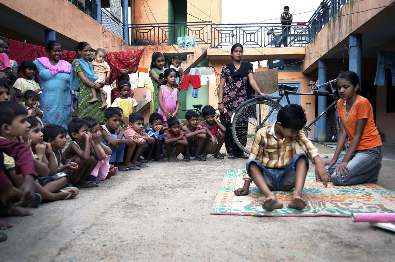 Performing street theatre